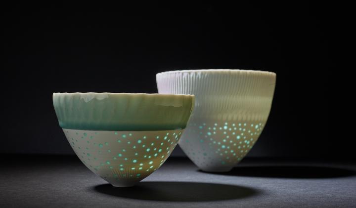 Porzellangefäße des Keramikers Fritz Rossmann