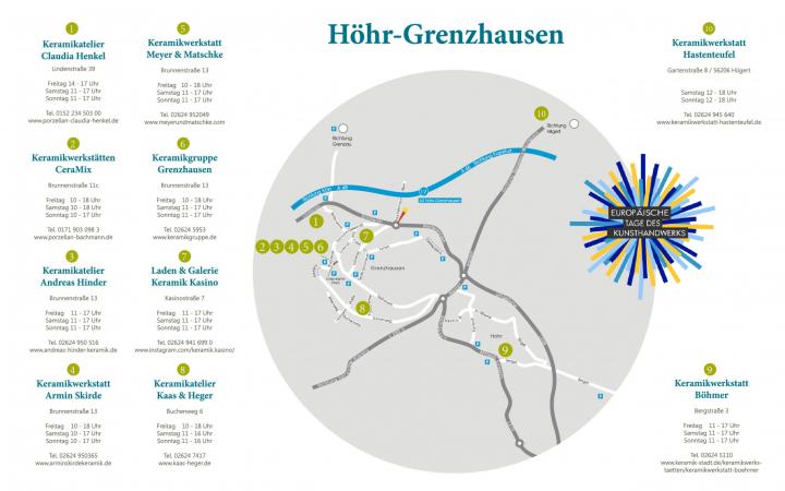 Keramikwerstatt Kaas & Heger beteiligen sich an den Europäische Tage des Kunsthandwerks: Übersichtskarte der teilnehmenden Werkstätten in Höhr-Grenzhausen.